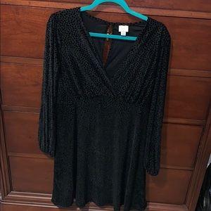 Black dress with velvet detail